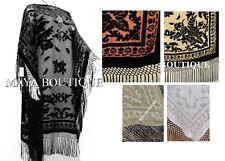 Silk Burnout Velvet Caftan Dress Duster Kimono Black Fringes Maya Matazaro