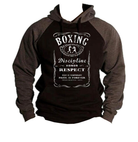 New Men/'s Boxing Whiskey Label Charcoal Raglan Hoodie sweatshirt kickboxing MMA