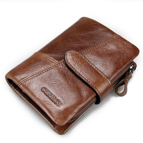 Large Capacity Mens Vintage Handbag Purse Checkbook Real Leather Trifold Wallet