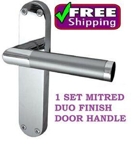BATHROOM TOILET Door Handle MODERN Mitred Lever Latch Interior Satin Chrome WC