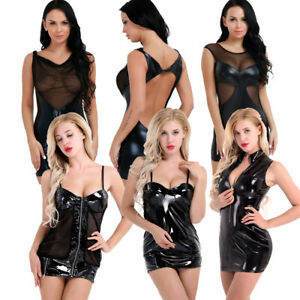 Women-Patent-Leather-Mini-Dress-Babydoll-Nightwear-Wetlook-Party-Dress-Clubwear