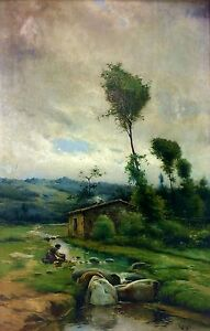 Prairie-and-wife-oil-painting-on-canvas-signed-roger-spain-late-1800-039-s