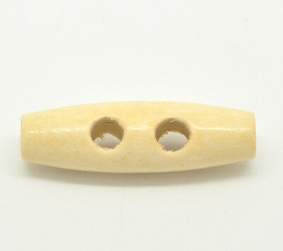 The Bead and Button Box Natural Colour Wood Toggle Buttons 20mm