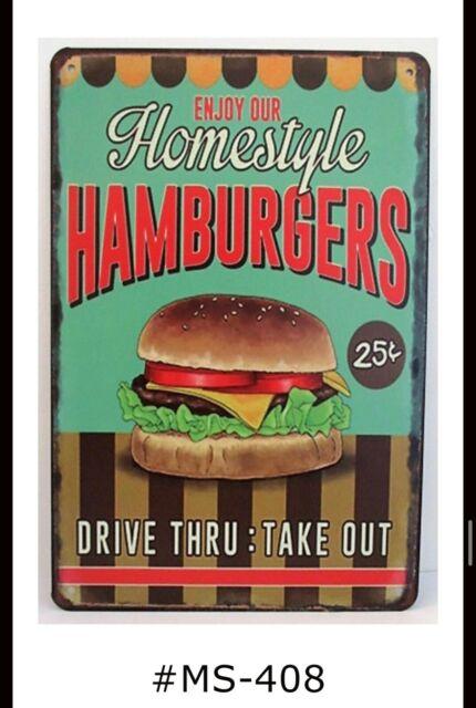 Retro  Metal Sign = Hamburgers DOLLS HOUSE