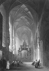BELGIUM-Brussels-Interior-of-St-Gudule-Church-Vintage-Antique-Print