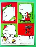 Vintage Hallmark Peanuts Christmas To & From 1 Sticker Sheet