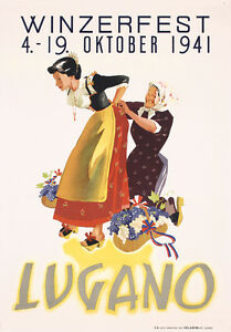 Original-1940s-Swiss-Lugano-Wine-Festival-Travel-Poster-Lot-343