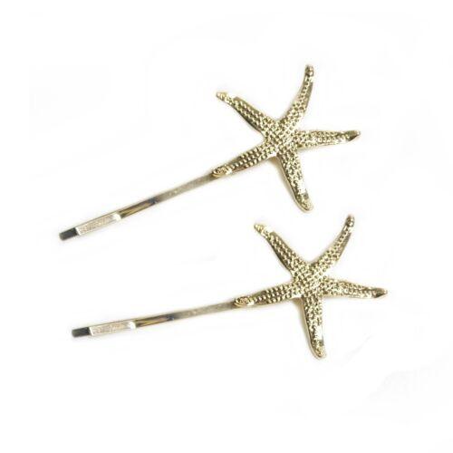 2 Slides Starfish Star Gold Design Hair Gold Diamante Grips Kirby Clips S54