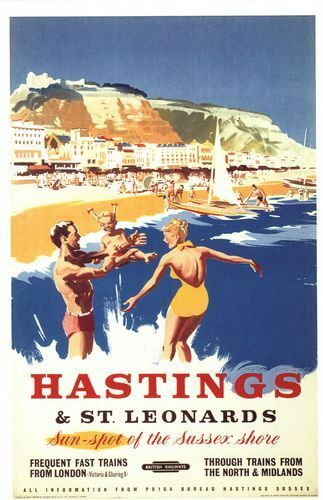Vintage British Rail Hastings Sussex Shore Railway Poster A4//A3//A2//A1 Print