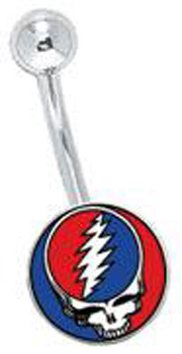GRATEFUL DEAD Steal Your Face 14G NAVEL BELLY RING NEW OFFICIAL MERCHANDISE