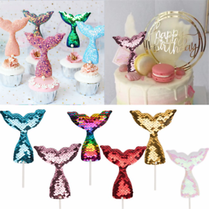 3Pcs-Mermaid-Tail-Cake-Topper-Sequins-Baby-Shower-Birthday-Cupcake-Decoration