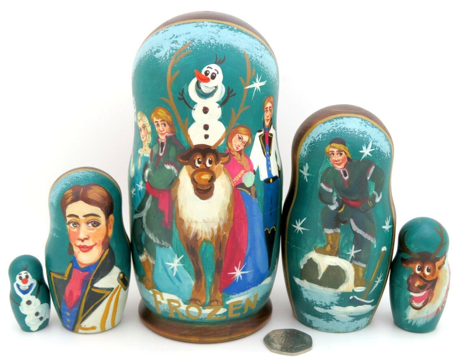 Frozen Elsa Anna Olaf Kristoff Hans Sven Dtuttia Russia Matrioska Bambole 5 Regalo