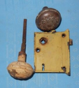 Image Is Loading Vintage Metal Door Knob Set W Latch Knobs