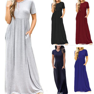 Fashion-Womens-Short-Sleeve-High-Waist-Loose-Casual-Long-Maxi-Dress-With-Pockets