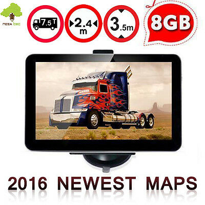"New 7"" TOM Navigation Truck Lorry  TOM SAT NAV GPS Speedcam FM Free Maps 8GB"