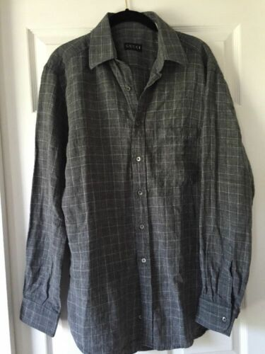 Gucci Mens Linen Shirt 39 15 1/2 Made In Italy ,sh