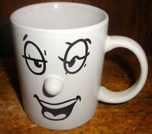 Funny Laughing Face Coffee Mug 3d Nose Ceramic Black White