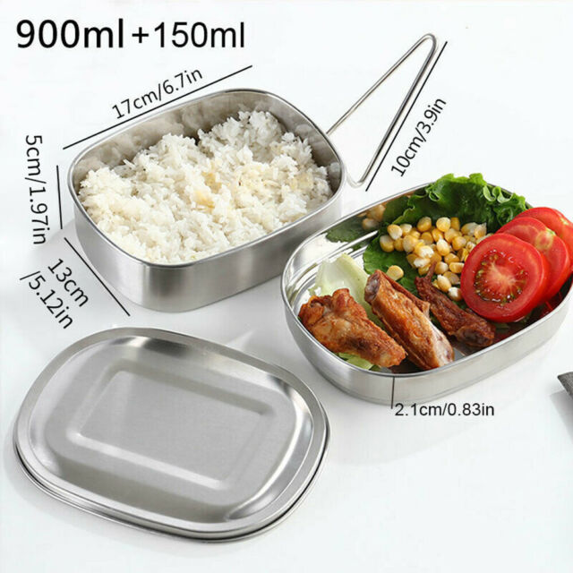 900/1050ml Stainless Steel Lunch Box 2-in1 Bento Box Eco-Friendly Container CA