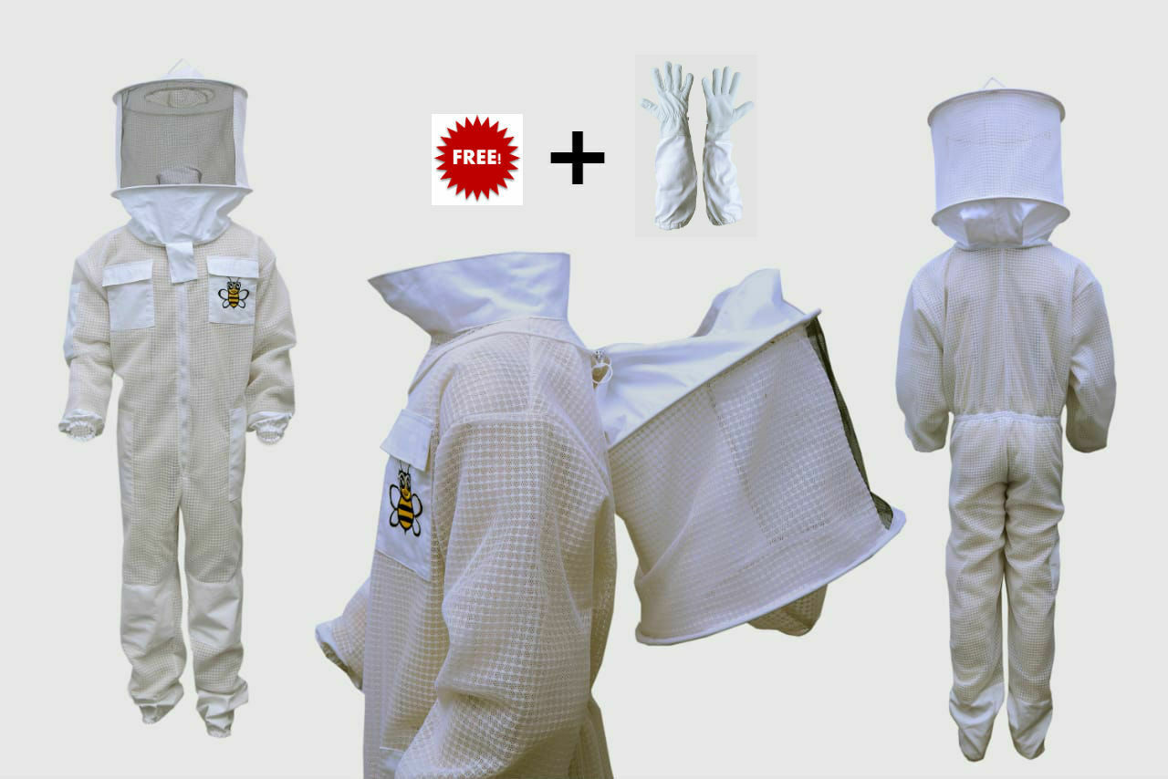 Bee Ultra Ventilated 3 Layer Beekeeper Beekeeping Suit ROUND Veil S  Style