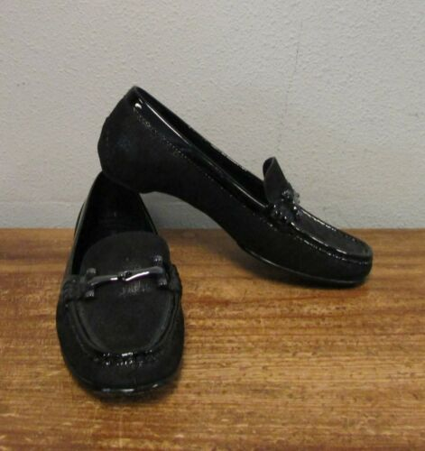 lederen Horsebit Suede Filo Donald Saffiano gesp zwart Pliner Flats Loafers 6 qw40F