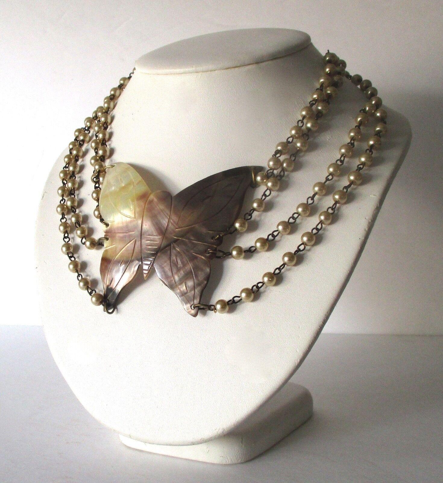 Set Mother of Pearl Vintage Handcrafted Boho Hippie 45.1 g 25 g 925 Sterling Silver Necklace and Bracelet BELDIAMO