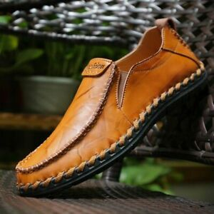 US-Men-039-s-Hand-Stitching-Leather-Loafers-Flats-Slip-on-Casual-Driving-Moccasins