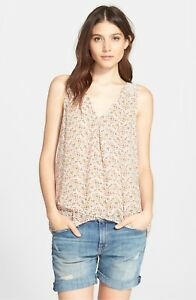 NWT-Joie-039-Anselm-039-Print-Silk-Tank-Size-Small-Ivory-Multi-228