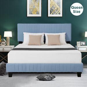 Queen-Size-Linen-Upholstered-Platform-Metal-Bed-Frame-Furniture-Wood-Slats-Blue