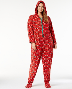 54e320b6f Womens Hello Kitty Snuggle Up Printed Hooded Jumpsuit Red Size 3X | eBay