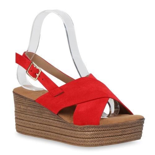 Damen Plateau Sandaletten Mid Heels Keilabsatz Sommer Schuhe 826413 Trendy Neu