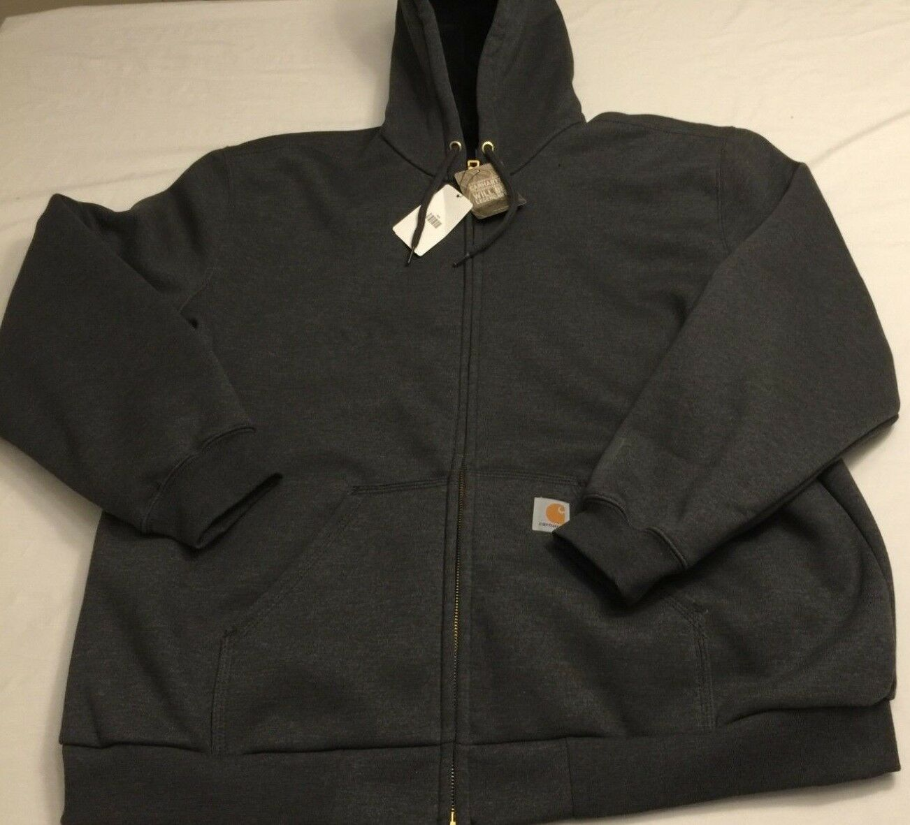 NWT CARHARTT Men Zip Sweatshirt Rain Defender Hooded Thermal Rutland 100632 grau