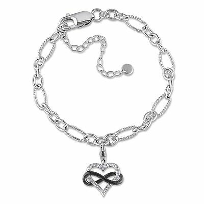 """Sterling Silver Diamond Accent Infinity Heart Charm Bracelet 7.25"""" +2"""" Extension"""
