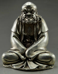 Collectible-Handwork-Old-Tibet-Silver-copper-Carved-Bodhidharma-Buddha-Statue