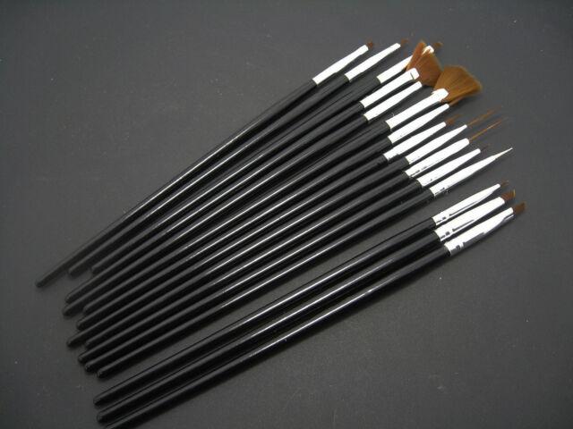 15Pcs Nail Art Acrylic UV Gel Design Brushes Set Painting Pen Tips Tools BLACK
