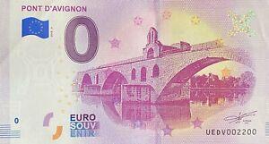 BILLET-0-EURO-PONT-D-039-AVIGNON-FRANCE-2018-NUMERO-2200