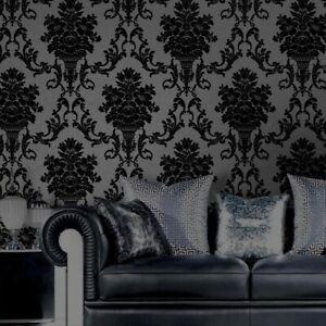 Home Decoration Luxury Classic Damask Wallpaper Black Velvet Non Woven Wallpaper Ebay
