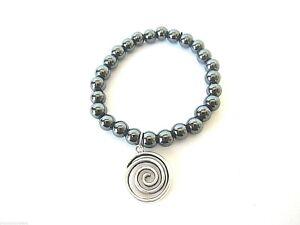 Hematite-Spiral-Charm-Stretch-Bracelet-Reiki-Healing-Crystal-Protection