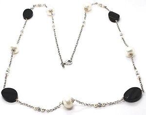 Collar-Plata-925-onix-Negro-Ovalados-Facetada-Perlas-80cm-Cadena-Rolo
