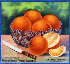 Alhambra California Don Quixote Brand Orange Citrus Fruit Crate Label Print