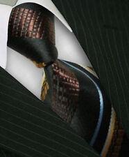 GIFTS FOR MEN Classic Mens Stripe Silk Necktie Work Tie Black Brown Blue White