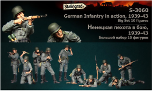 1-35-Resin-Figure-Model-Kit-German-Infantry-in-action-1939-43-10-Figures-Big-Set