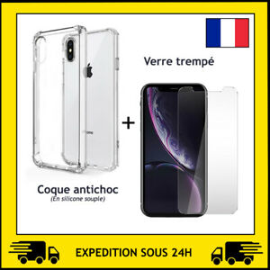 COQUE ANTI CHOC + PROTECTION VERRE TREMPE APPLE IPHONE X / XS / XS MAX / XR