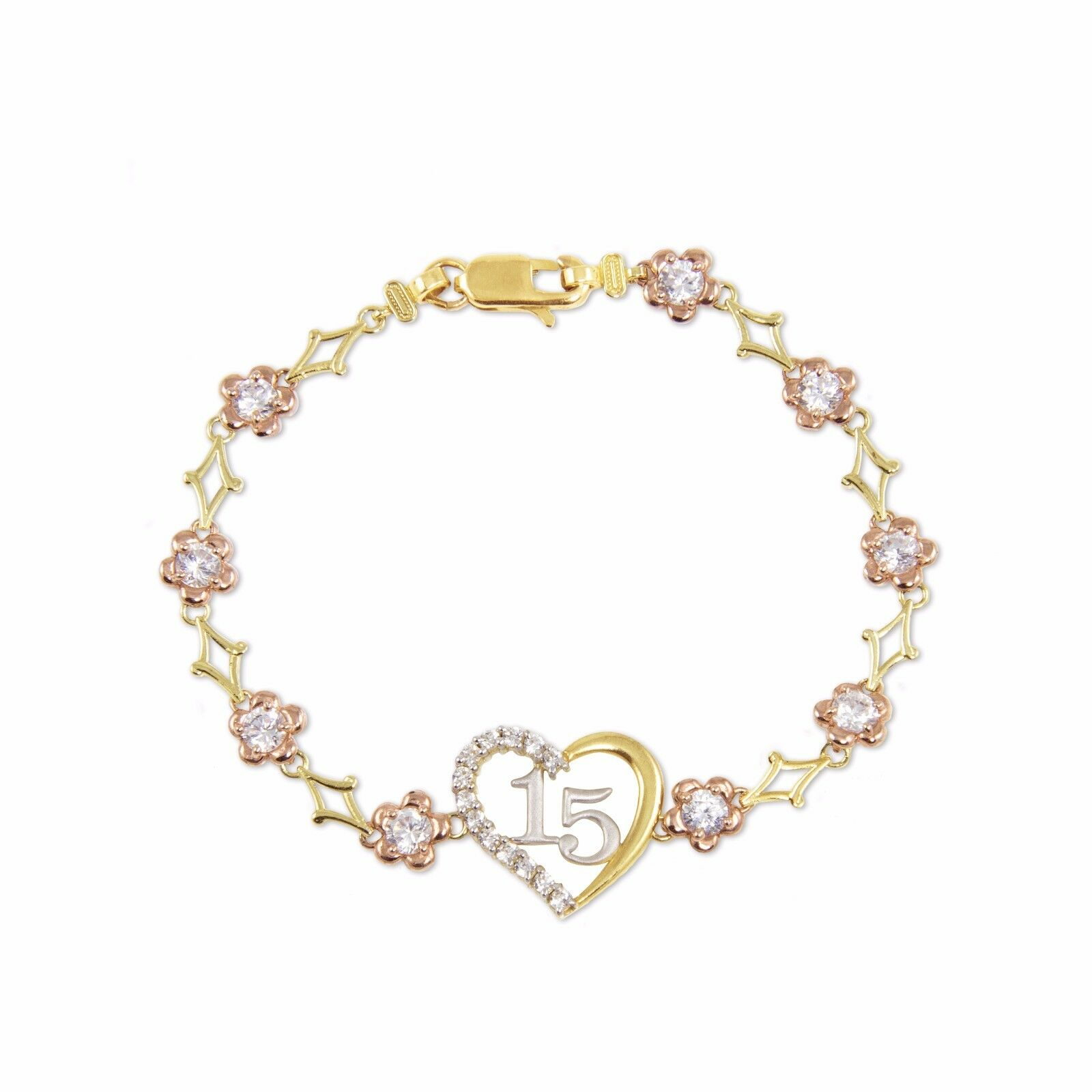 10K Solid Yellow pink gold CZ Heart Sweet 15 Bracelet -Quinceanera Anos Birthday
