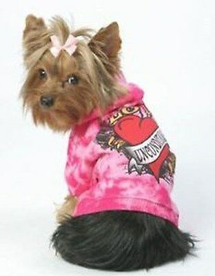 K9 Duds Unconditional Love Dog Hoodie Sweatshirt  Pink