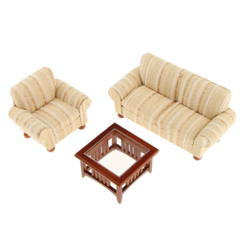 1//12 Dollhouse Miniature Furniture Living Room Couch Sofa Table Set Gold