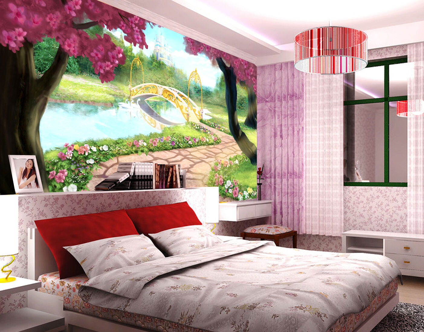 3D Trees river road 1 WallPaper Murals Wall Print Decal Wall Deco AJ WALLPAPER