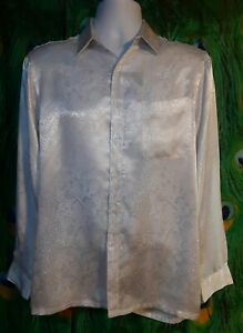 Vtg-Marquis-Men-039-s-M-Button-Up-Shirt-White-Simulated-Snake-Skin-C-4