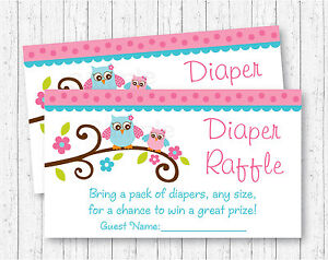 Image Is Loading Pink Woodland Owl Printable Baby Shower Diaper Raffle