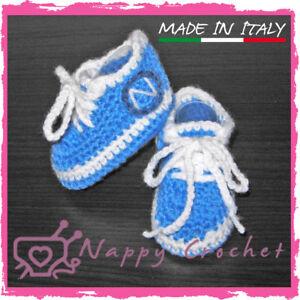 Scarpine Sportive Da Calcio Napoli Neonato Uncinetto Baby Booties