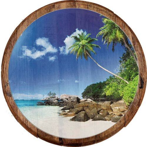 Details about  /Whiskey Barrel Head Carribean Reaching Palm Trees White Sand Tropical Home Décor